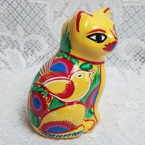 Vintage Hand Painted Glazed Bright Ceramic Cat